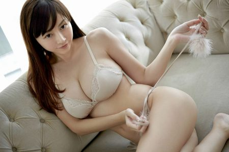 Beautiful Japanese woman in white lingerie
