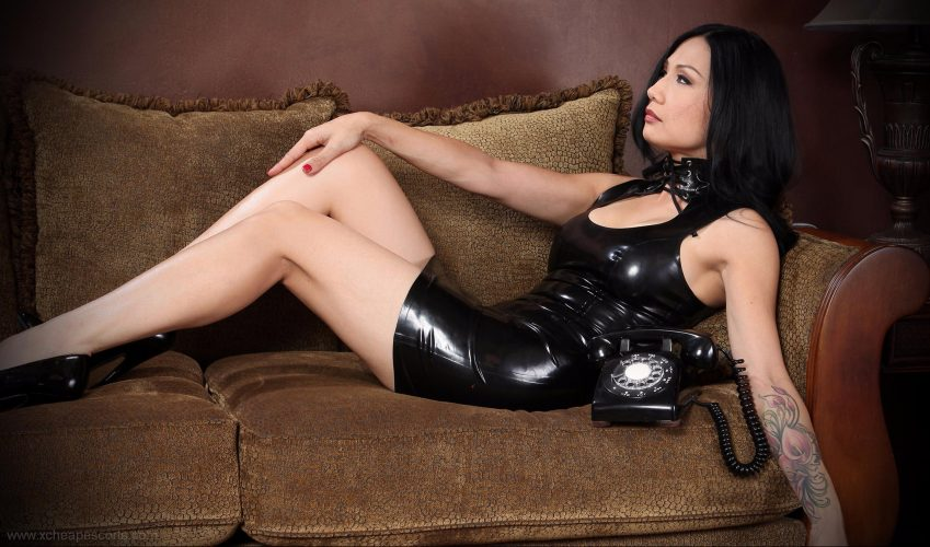 Hot lady in black leather