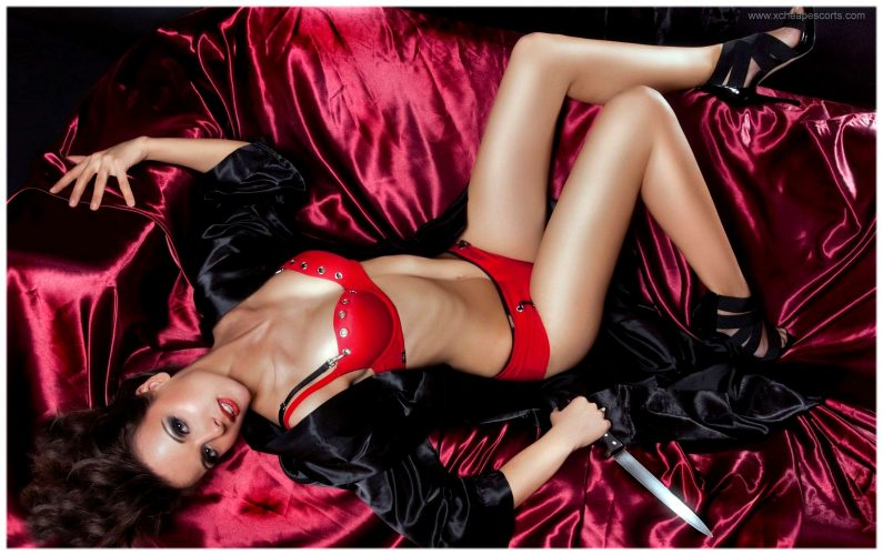Escorts in London in red lingerie